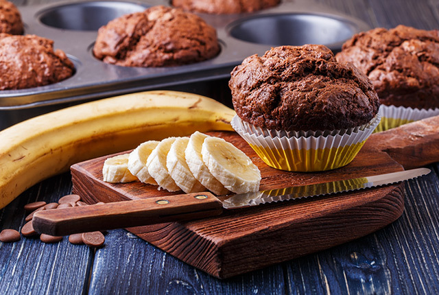 Sugar Free Banana Chocolate Muffins